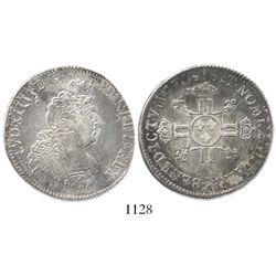 France (mint uncertain), 1/2 ecu, Louis XIV, 1704, struck over a 1/2 ecu of 1701.
