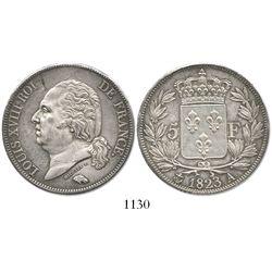 France (Paris mint), 5 francs, Louis XVIII, 1823-A.