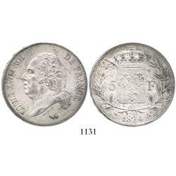 France (Paris mint), 5 francs, Louis XVIII, 1824-A.