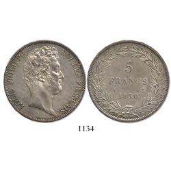France (Paris mint), 5 francs, Louis Philippe (without ordinal), 1830-A, raised lettering on edge, r