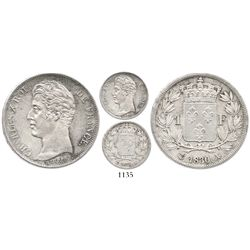 France (Paris mint), 1 franc, Charles X, 1830-A, incuse-lettered edge.