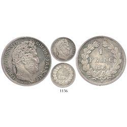 France (Paris mint), 1 franc, Louis Philippe I 1847-A.
