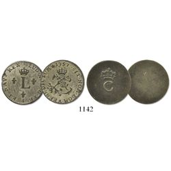 Lot of 2: One French colonial billon stampee (crowned-C) on blank planchet (1779), plus a French bil