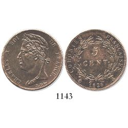 French colonies, bronze 5 centimes, 1828-A.