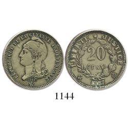 French Guiana, copper-nickel 20 centimes pattern (essai), 1887, rare.