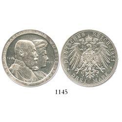 Württemberg, German States, proof 3 mark, Wilhelm II, 1911-F, wedding anniversary, variety with high