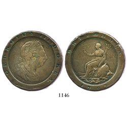 "London, England, copper ""cartwheel"" twopence, George III, 1797."