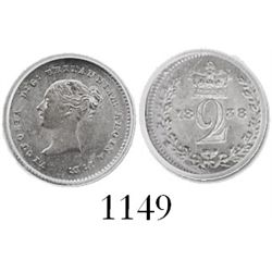 London, England, 2 pence, Victoria, 1838, with diagnostic die-crack for exported issue (Jamaica), en
