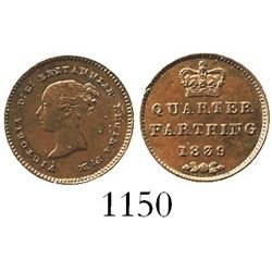London, England, copper 1/4 farthing, Victoria, 1839.