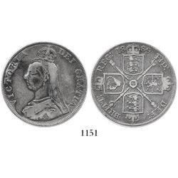 London, England, double florin, Victoria, 1889, inverted 1 for second I in queen's name.