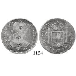 Guatemala, bust 2 reales, Charles IV transitional (bust of Charles III, ordinal IV), 1789M, with sma