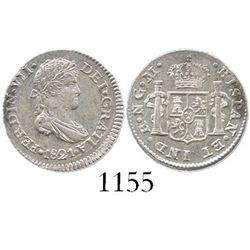 Guatemala, bust 1/2 real, Ferdinand VII, 1821M.