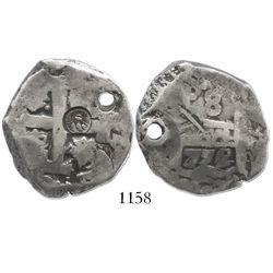 Guatemala, 8 reales, sun-over-mountains countermark (Type II, 1839) on a Potosi, Bolivia, cob 8 real