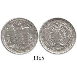Honduras, 25 centavos, 1902/1, F in wreath above fineness, debased type.