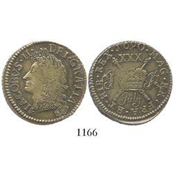 "Ireland, brass ""gunmoney"" half crown, James II, 1690 (July)."