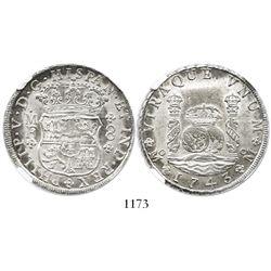 Mexico City, Mexico, pillar 8 reales, Philip V, 1743MF, encapsulated NGC MS 63.