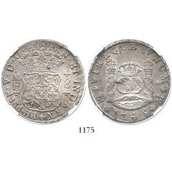 Mexico City, Mexico, pillar 8 reales, Philip V, 1745MF, encapsulated NGC MS 61.
