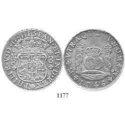 Mexico City, Mexico, pillar 8 reales, Philip V, 1746MF, encapsulated ANACS EF 40.