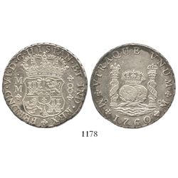 Mexico City, Mexico, pillar 8 reales, Ferdinand VI, 1760MM, with tiny chopmarks as from circulation