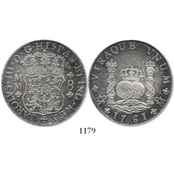 Mexico City, Mexico, pillar 8 reales, Charles III, 1761MM, cross between H and I, encapsulated PCGS
