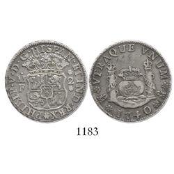 Mexico City, Mexico, pillar 2 reales, Philip V, 1740MF.