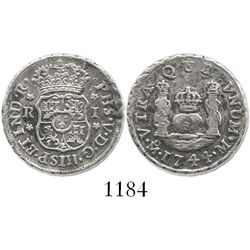 Mexico City, Mexico, pillar 1 real, Philip V, 1744M.