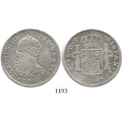 Mexico City, Mexico, bust 4 reales, Charles III, 1772FM, initials facing rim.