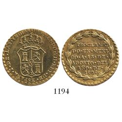 "Mexico City, Mexico, ""2 reales"" proclamation medal, Ferdinand VII, 1808, gilt."