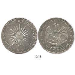 """Durango (Cuencamé), Mexico, 1 peso, """"Muera Huerta,"""" 1914, dot-and-dash border."""