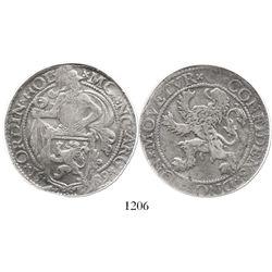 """Holland, United Netherlands, """"lion"""" daalder, 1589, encapsulated NGC F 15."""