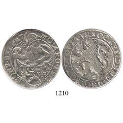 """Friesland, United Netherlands, 1/2 """"lion"""" daalder, no date (1619), encapsulated NGC VF 30."""