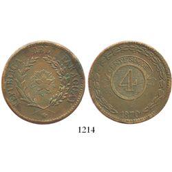 Paraguay (Asuncion), copper 4 centesimos, 1870.