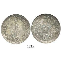 Paraguay, pattern 50 centavos (unfinished date), struck over Argentina 50 centavos 1883, encapsulate