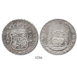 Lima, Peru, pillar 8 reales, 1764JM.