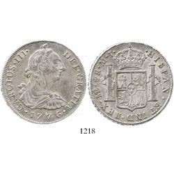 Lima, Peru, bust 8 reales, Charles III, 1776MJ.