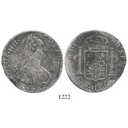 "Lima, Peru, bust 8 reales, Charles IV, 1796IJ, ""R8"" error (rare)."