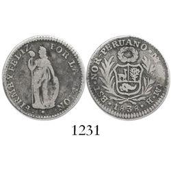 Lima, (North) Peru, 1 real, 1838MB, very rare.