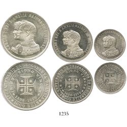 Portugal, prooflike set of 1000-500-200 reis (3 coins), 1898, 400th anniversary of the discovery of