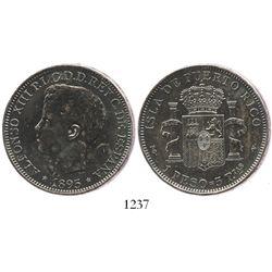 Puerto Rico, 1 peso (5 pesetas), 1895-PGV.