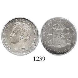 Puerto Rico, 20 centavos, 1895-PGV, encapsulated ICG AU55 details / cleaned.