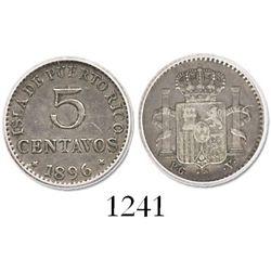 Puerto Rico, 5 centavos, 1896-PGV, encapsulated ICG VF30.