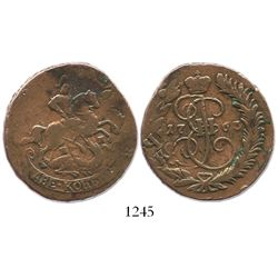 Russia, copper 2 kopeks, Catherine II, 1763 (no mintmark), struck over an earlier 4 kopeks.