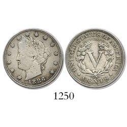 "USA (Philadelphia mint), copper-nickel ""V"" nickel, 1886, key date."