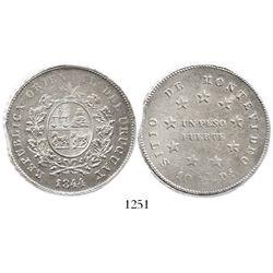 Uruguay, 1 peso, 1844, rare error with void in edge.
