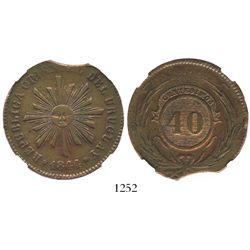 Uruguay, copper 40 centesimos, 1844, encapsulated NGC XF details / clipped planchet (rare error).