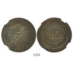 Uruguay, copper 20 centesimos, 1855, encapsulated NGC AU 50 BN.