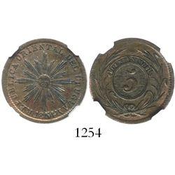 Uruguay, copper 5 centesimos, 1854/00, encapsulated NGC AU 55 BN.