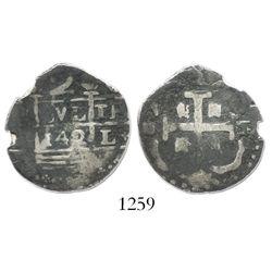 "Caracas, Venezuela, ""imitation cob"" 2 reales, ""142"" date (early 1800s)."