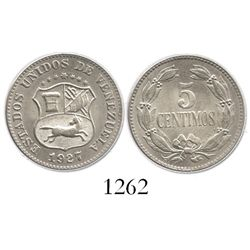 Venezuela, copper-nickel 5 centimos, 1927.