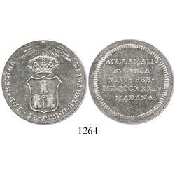 Cuba (Havana), silver proclamation medal, Isabel II, 1834.